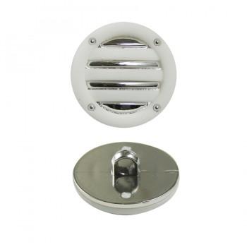 Пуговица металлизированная,  34L, цвет никель+белый
