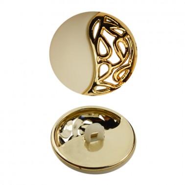 Пуговица металлизированная, 34L, цвет золото+матовый белый