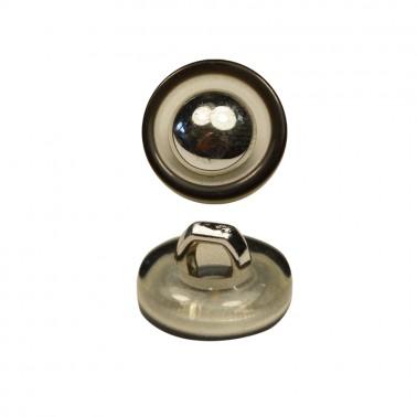 Пуговица металлизированная, 16L, цвет черный+никель