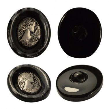 Пуговица металлизированная, 60L, цвет черный