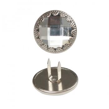 Пуговица металлизированная, 34L, цвет никель, крабик