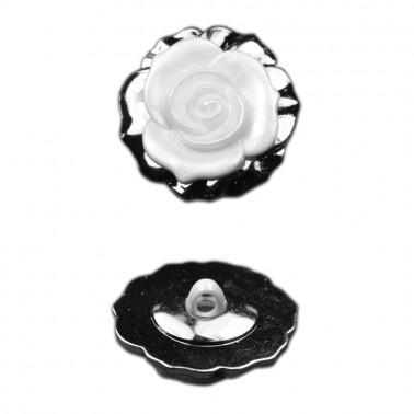 Пуговица металлизированная, 44L, цвет никель+белый