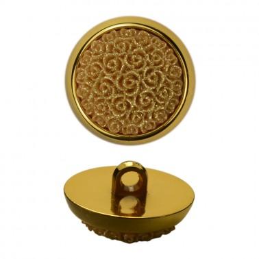 Пуговица металлизированная, 40L, цвет золото+бежевый