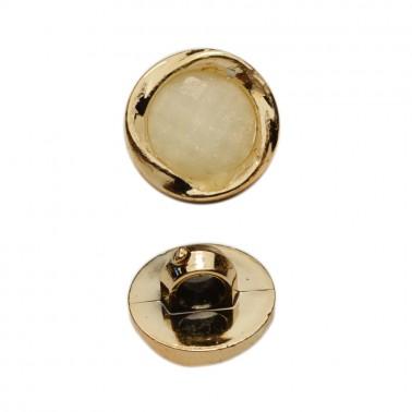 Пуговица металлизированная, 18L, цвет золото+молочный