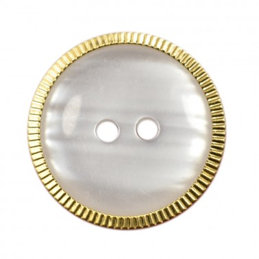 Пуговица металлизированная, 20L, цвет белый+золото, 2 прокола