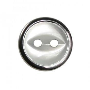 Пуговица металлизированная, 20L, цвет белый+оксид, 2 прокола