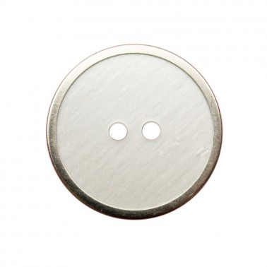 Пуговица металлизированная,, 48L, цвет белый+никель