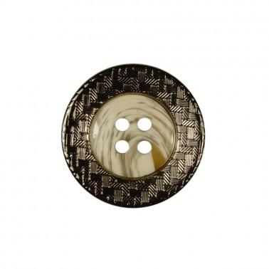 Пуговица металлизированная, 44L, 4 прокола, цвет оксид+белый