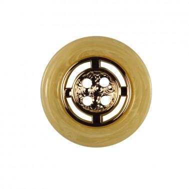 Пуговица металлизированная, 44L, цвет золото+бежевый, 4 прокола