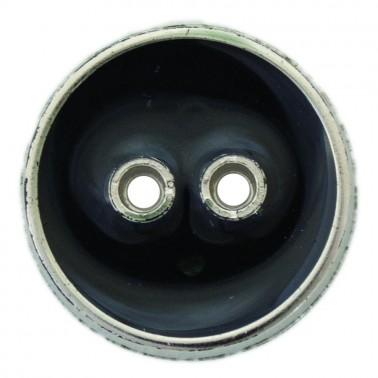 Пуговица металлизированная, 34L, цвет никель+черный, 2 прокола