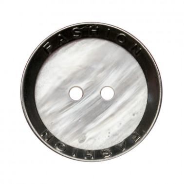 Пуговица металлизированная, 36L, цвет белый+антик, fashion с металлическим ободком