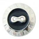 Пуговица металлизированная, 48L, цвет никель+черный, 2 прокола