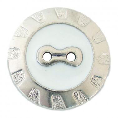 Пуговица металлизированная, 48L, цвет никель+белый, 2 прокола