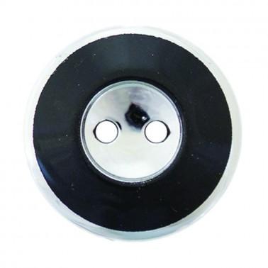 Пуговица металлизированная, 24L, цвет никель+черный