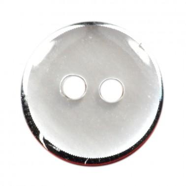 Пуговица металлизированная, 28L, цвет никель+белый, 2 прокола