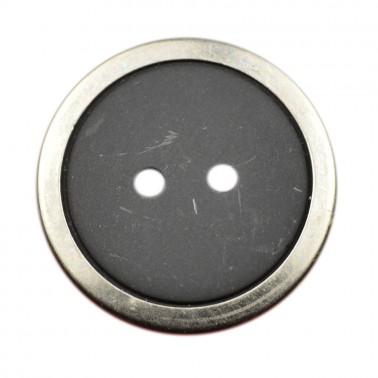 Пуговица металлизированная, 40L, цвет оксид+черный, 2 прокола