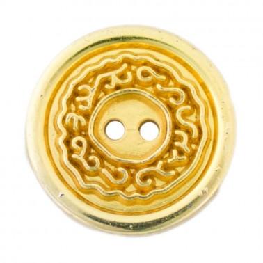 Пуговица металлизированная, 18L, цвет золото, 2 прокола