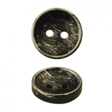 Пуговица металлизированная, 24L, цвет черный