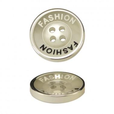 Пуговица металлизированная, 24L, цвет никель+прозрачный