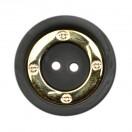 Пуговица металлизированная, 44L, цвет золото+чёрный, 2 прокола