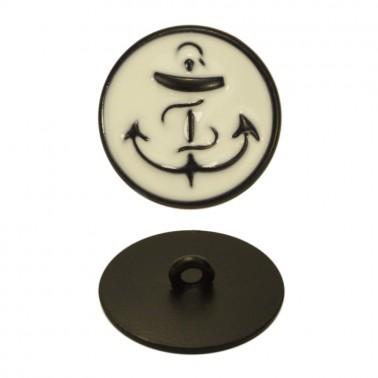 Пуговица металлическая, 40L, цвет черный+белый
