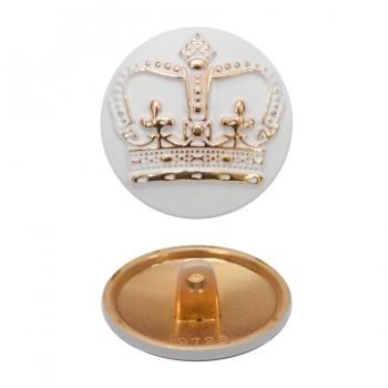 Пуговица металлическая, 26L, цвет золото+белый