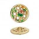 Пуговица металлическая 28L, цвет золото+разноцветный