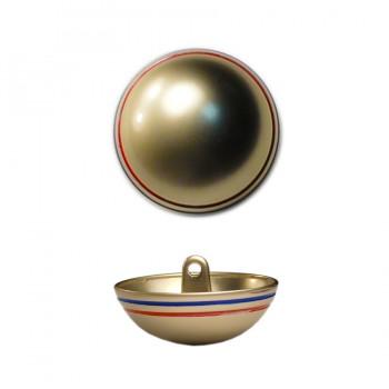 Пуговица металлическая, 24L, цвет золото+красный+синий