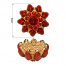 Пуговица металлическая+страза, 40L  цвет красный