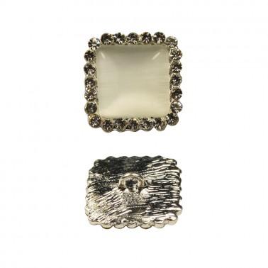 Пуговица металлическая, 44L, цвет никель+белый