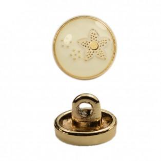 Пуговица металлическая, 16L, цвет золото+белый