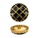 Пуговица металлическая, 28L, цвет  матовое золото+черный