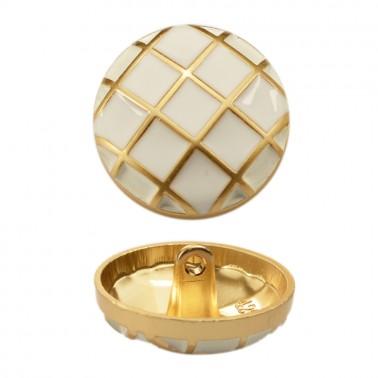 Пуговица металлическая, 40L, цвет  матовое золото+белый
