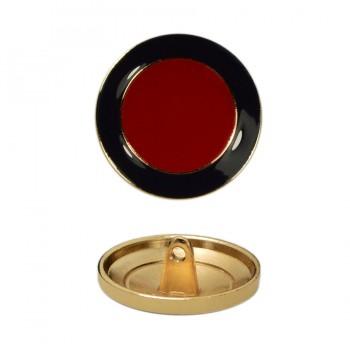 Пуговица металлическая, 40L, цвет золото+красный+т.синий