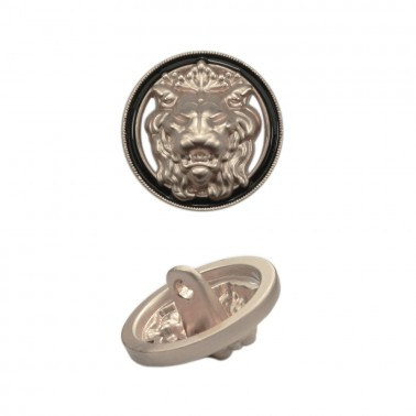 Пуговица металлическая, 28L, цвет матовое cеребро+черный