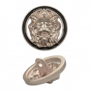 Пуговица металлическая, 40L, цвет матовое cеребро+черный