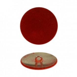 Пуговица металлическая 24L, цвет красный+никель