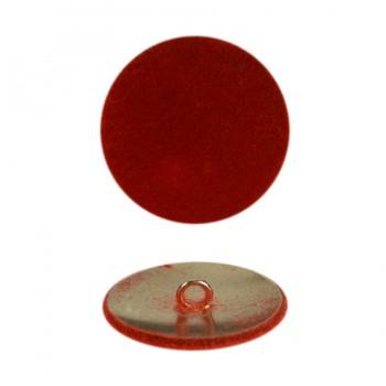 Пуговица металлическая 40L, цвет красный+никель