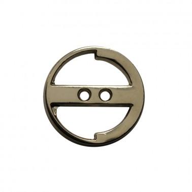 Пуговица металлическая, 24L, цвет никель, 2 прокола