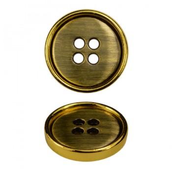 Пуговица металлическая, 28L, цвет золото+антик