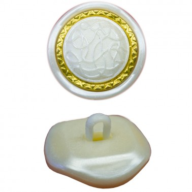 Пуговица пластиковая, 28L, цвет белый+золото