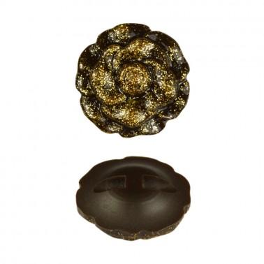 Пуговица пластиковая, 54L, цвет коричневый+золото