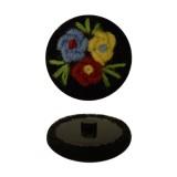 Пуговица пластиковая, велюр+вышивка, 44L, цвет черный+разноцветный