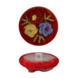 Пуговица пластиковая, велюр+вышивка, 44L, цвет красный+разноцветный