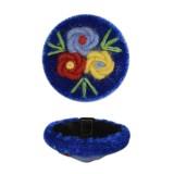 Пуговица пластиковая, велюр+вышивка, 44L, цвет синий+разноцветный