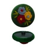 Пуговица пластиковая, велюр+вышивка, 44L, цвет зеленый+разноцветный