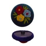 Пуговица пластиковая, велюр+вышивка, 44L, цвет темно-синий+разноцветный