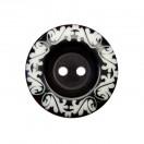 Пуговица пластиковая, 48L, цвет черный+белый, 2 прокола