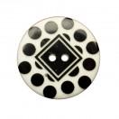 Пуговица пластиковая, 54L, цвет черный+белый, 2 прокола