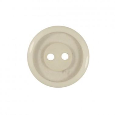 Пуговица пластиковая, 28L, цвет белый+прозрачный, 2 прокола